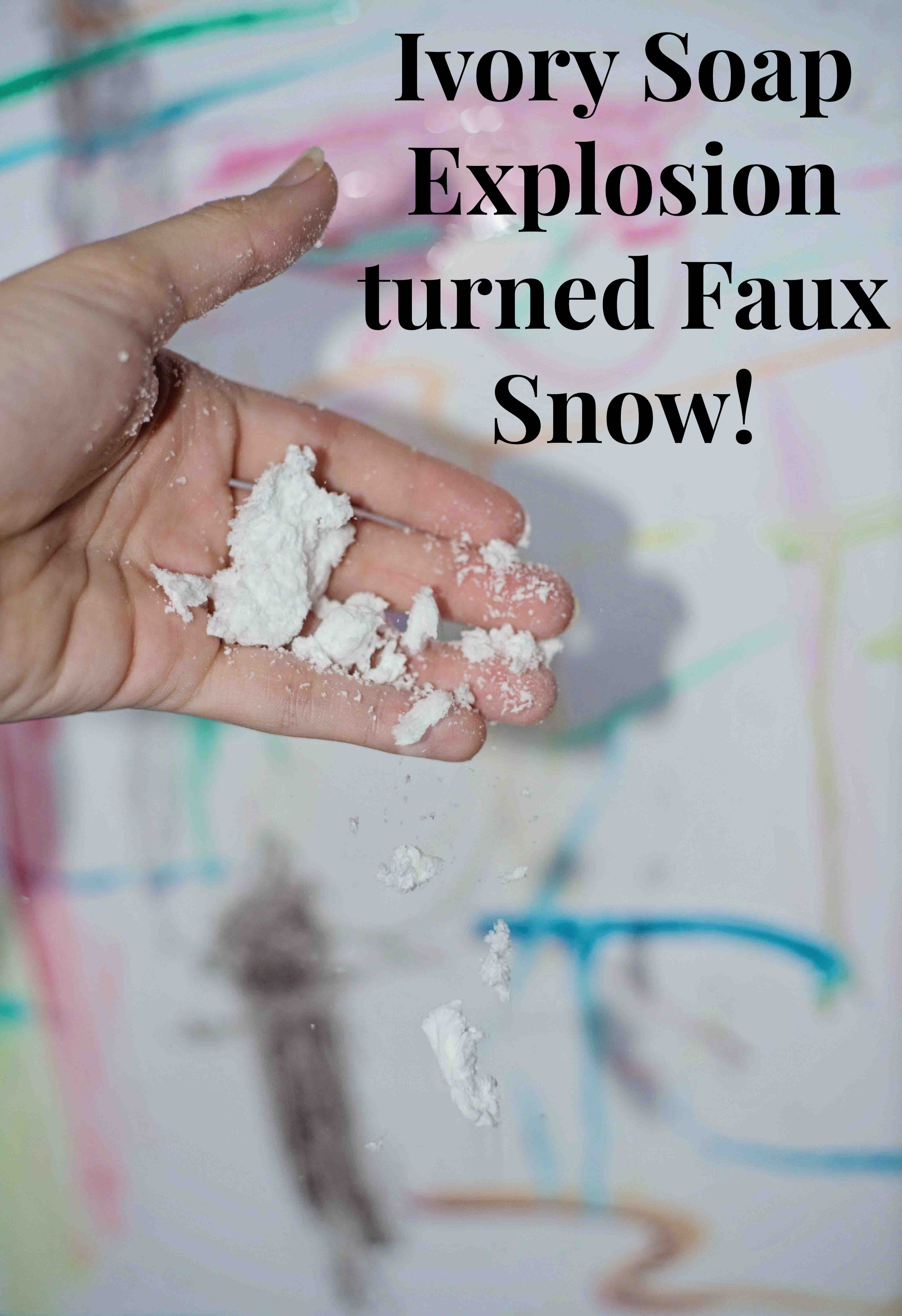 Ivory soap explosion turned faux snow by crumbling!
