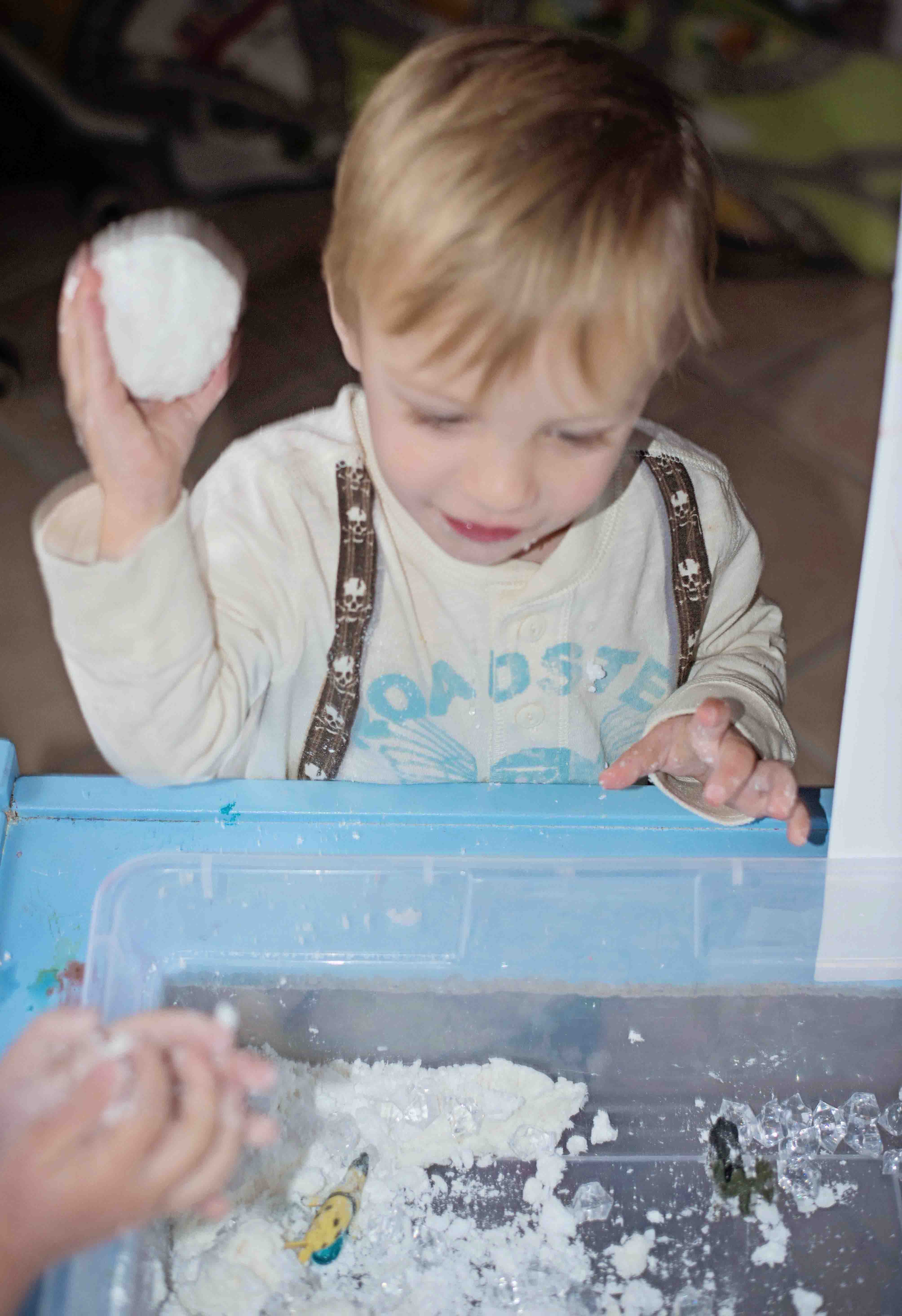 Learning, art and sensory play all combine in this Aurora Borealis Sensory Bin! Learn about the arctic tundra environment by playing with clean mud and making an ivory soap explosion, then paint the sky!