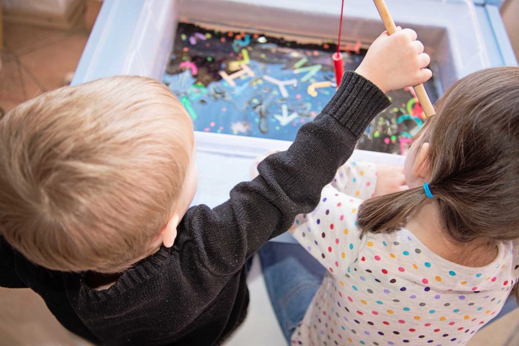 Alphabet Fishing Sensory Bin with DIY perler bead letters