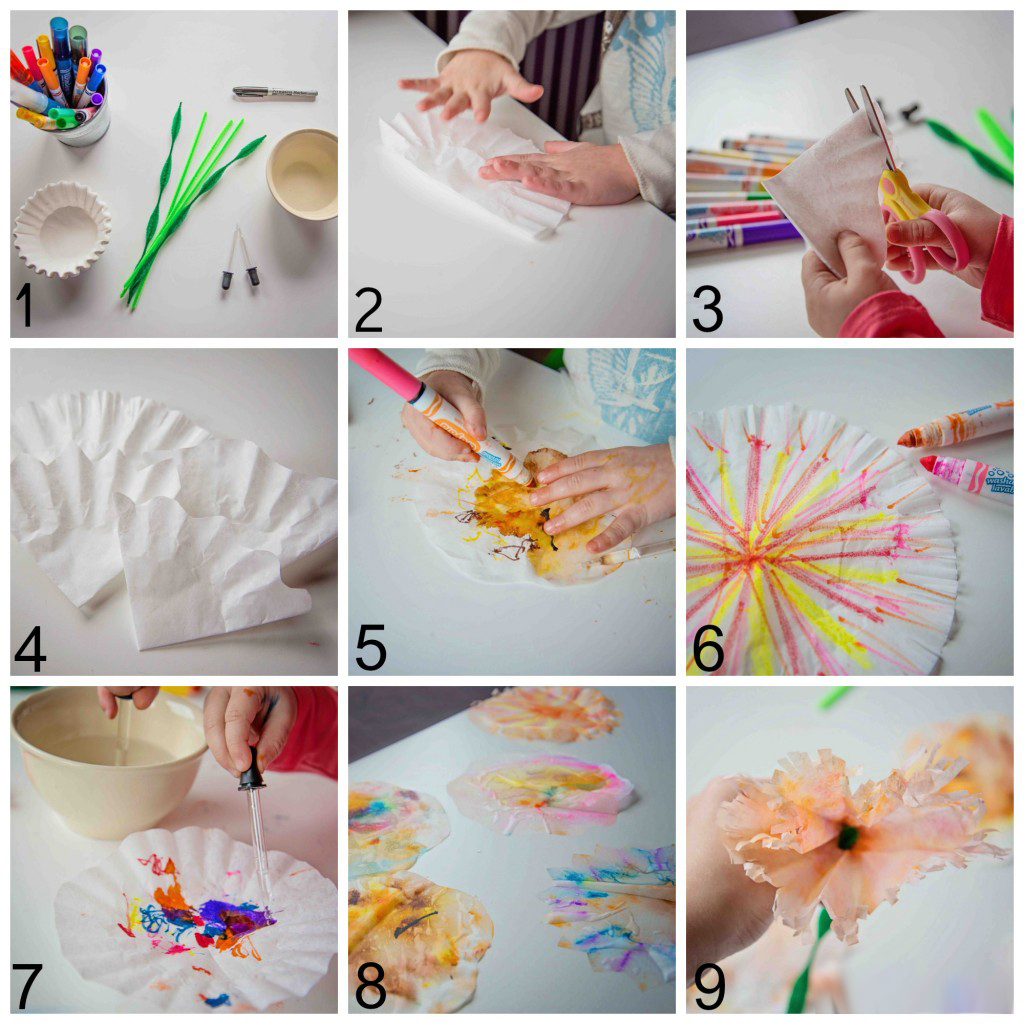 Coffee Filter Flower craft for Valentine's Day from Life Lesson Plans