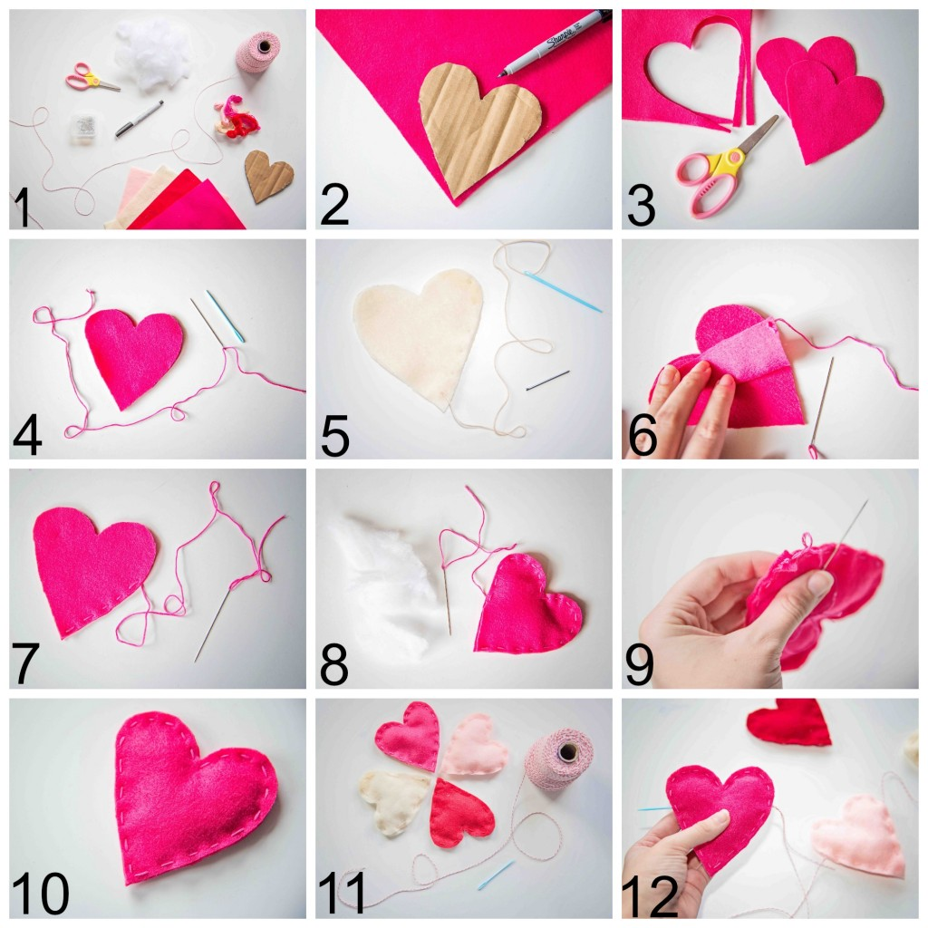 A Kid Made Felt Heart Garland from Life Lesson Plans
