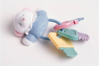 baby rattle with bear and keys